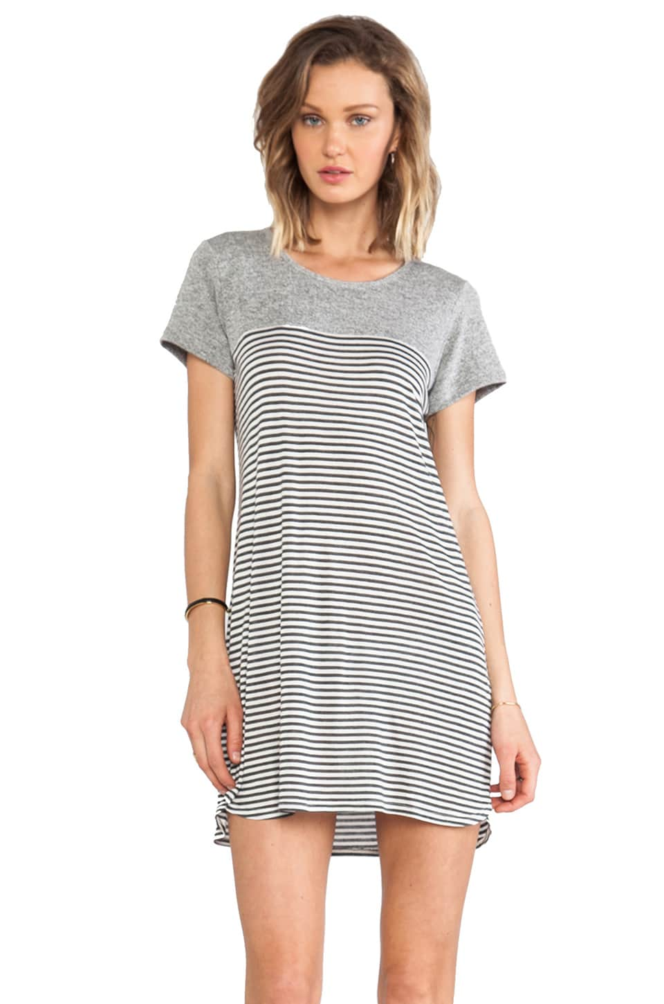 The Lady & the Sailor Contrast Pleat Back Dress in Charcoal & Melange Stripe