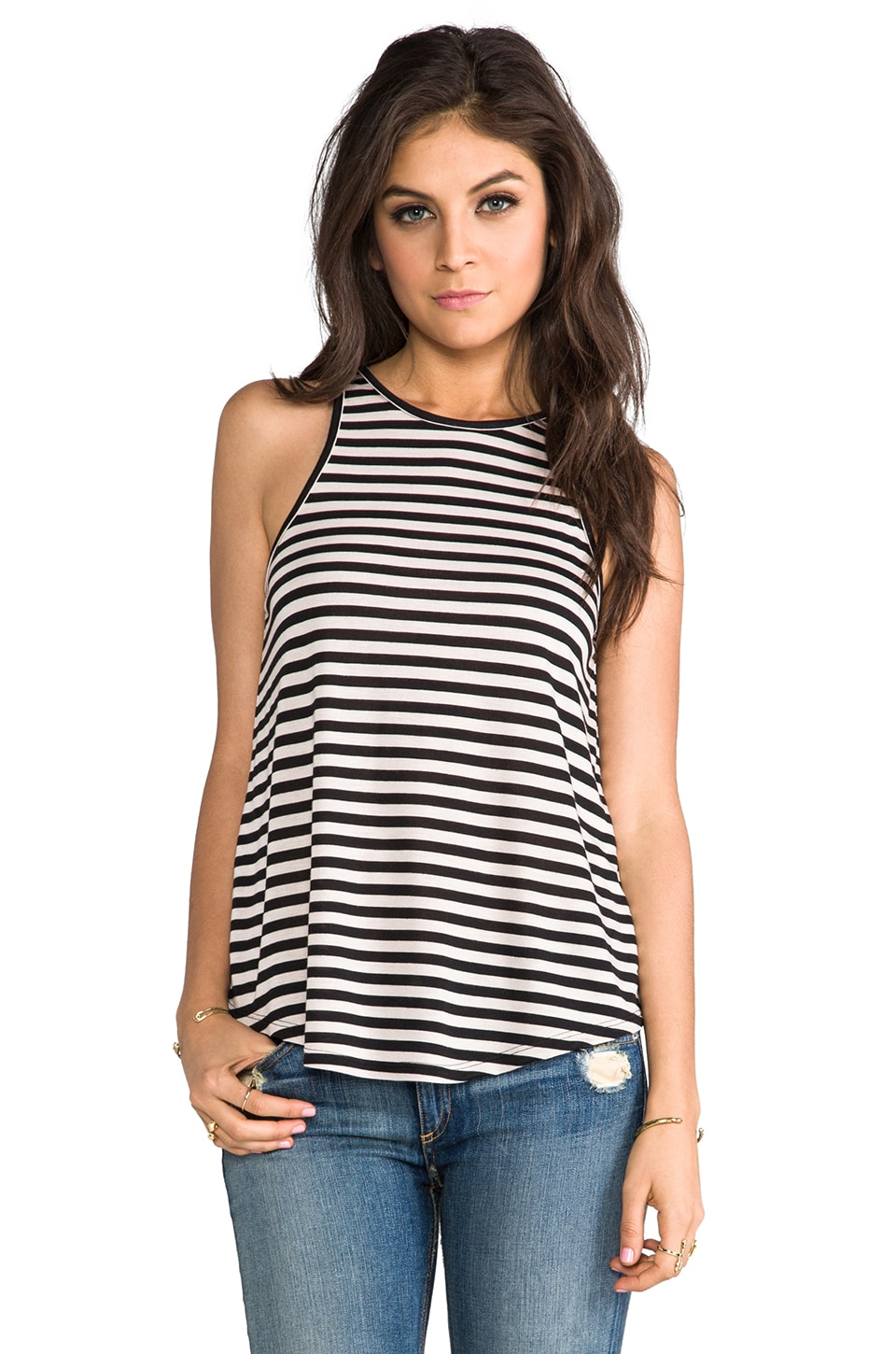 The Lady & the Sailor Bare Striped Tank in Nude Stripe