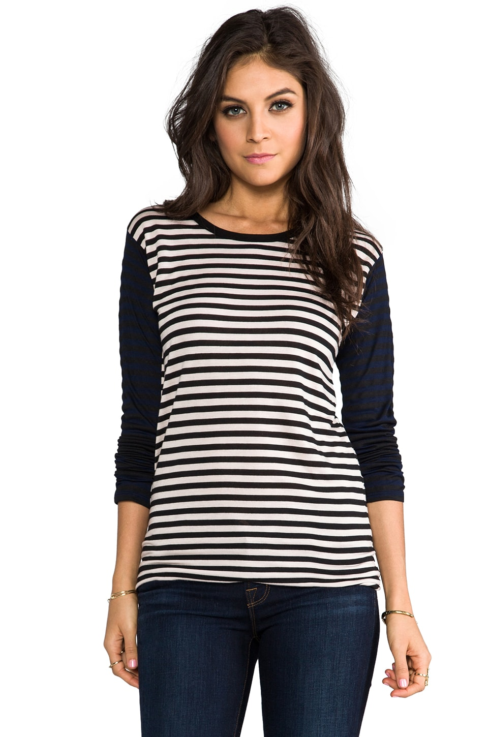 The Lady & the Sailor Boxy Long Sleeve in Nude Stripe/Nave Stripe