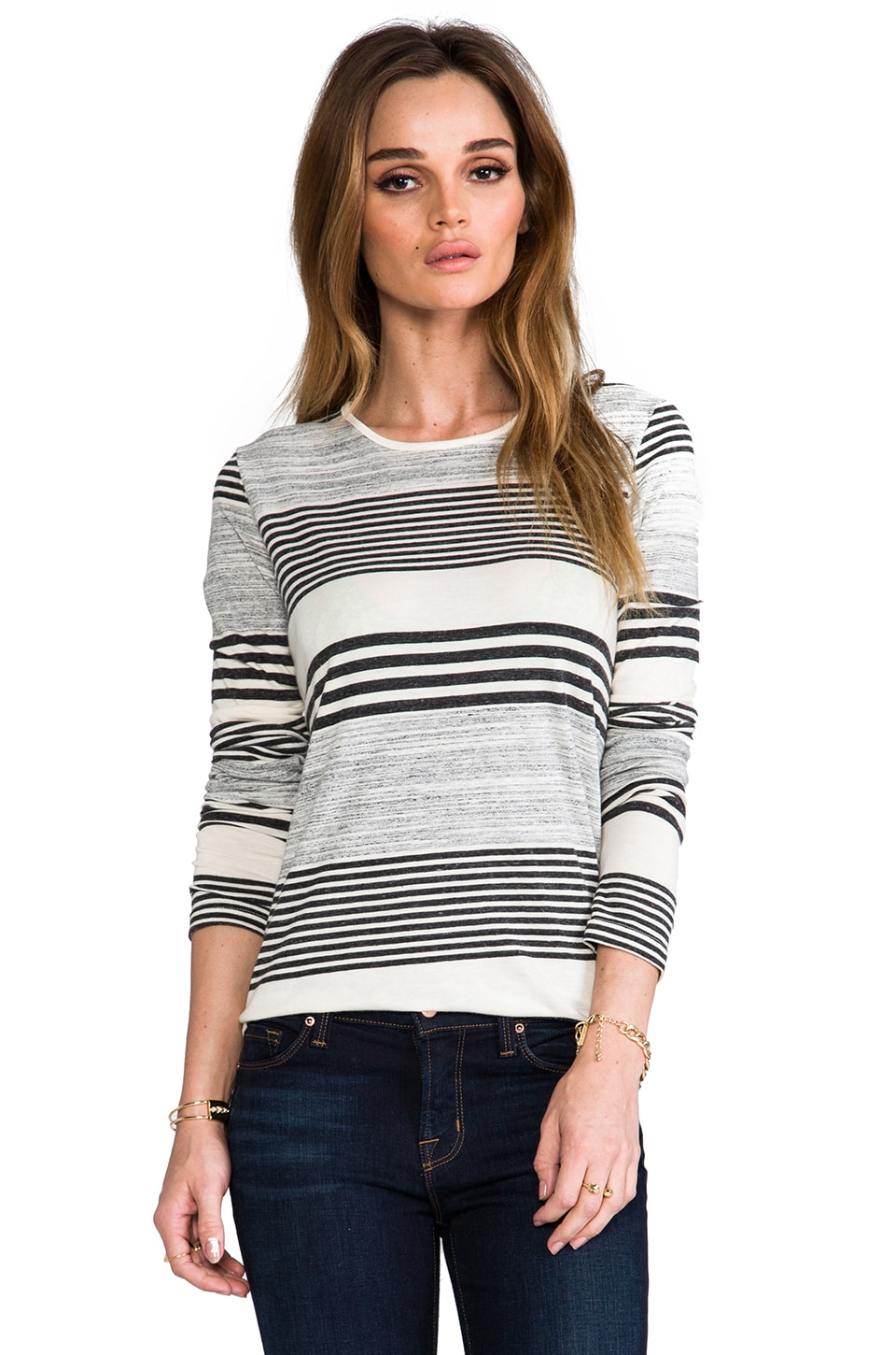 The Lady & the Sailor Long Sleeve Round Bottom Tee in Auto Stripe