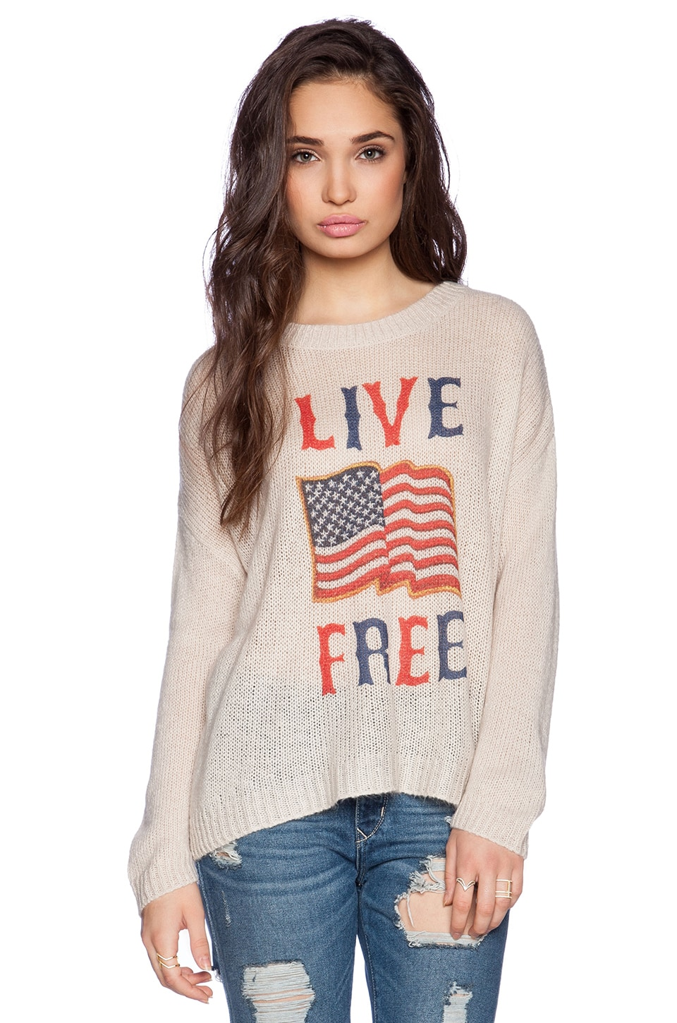 The Laundry Room Live Free Beach Bum Sweater in Khaki