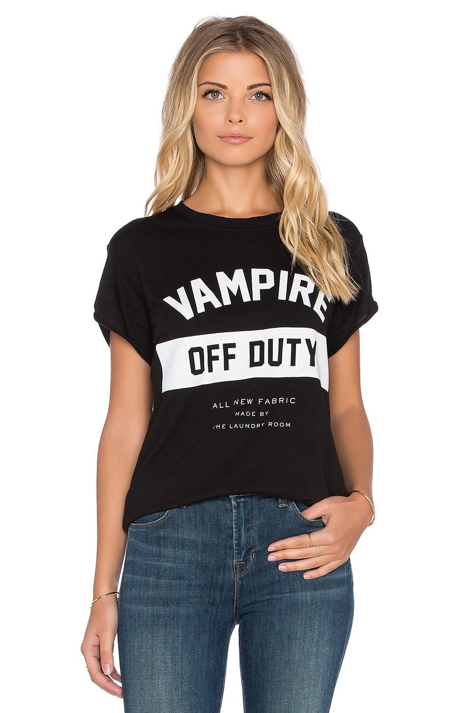 The Laundry Room Vampire Off Duty Rolling Tee in Black