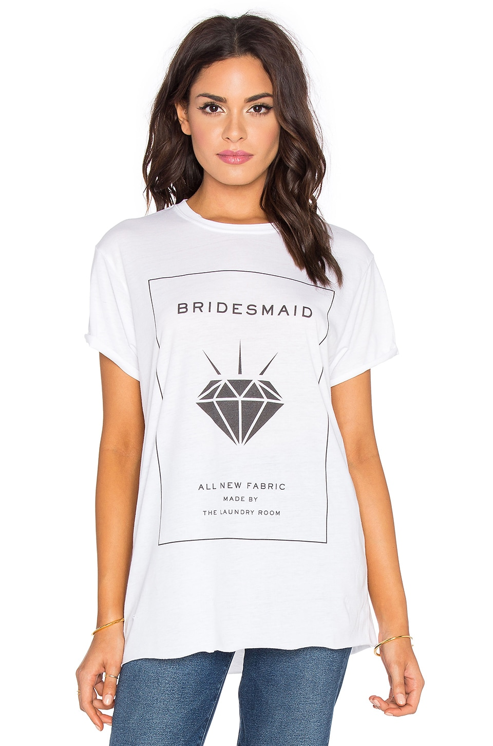 The Laundry Room Bridesmaid Label Rolling Tee in White