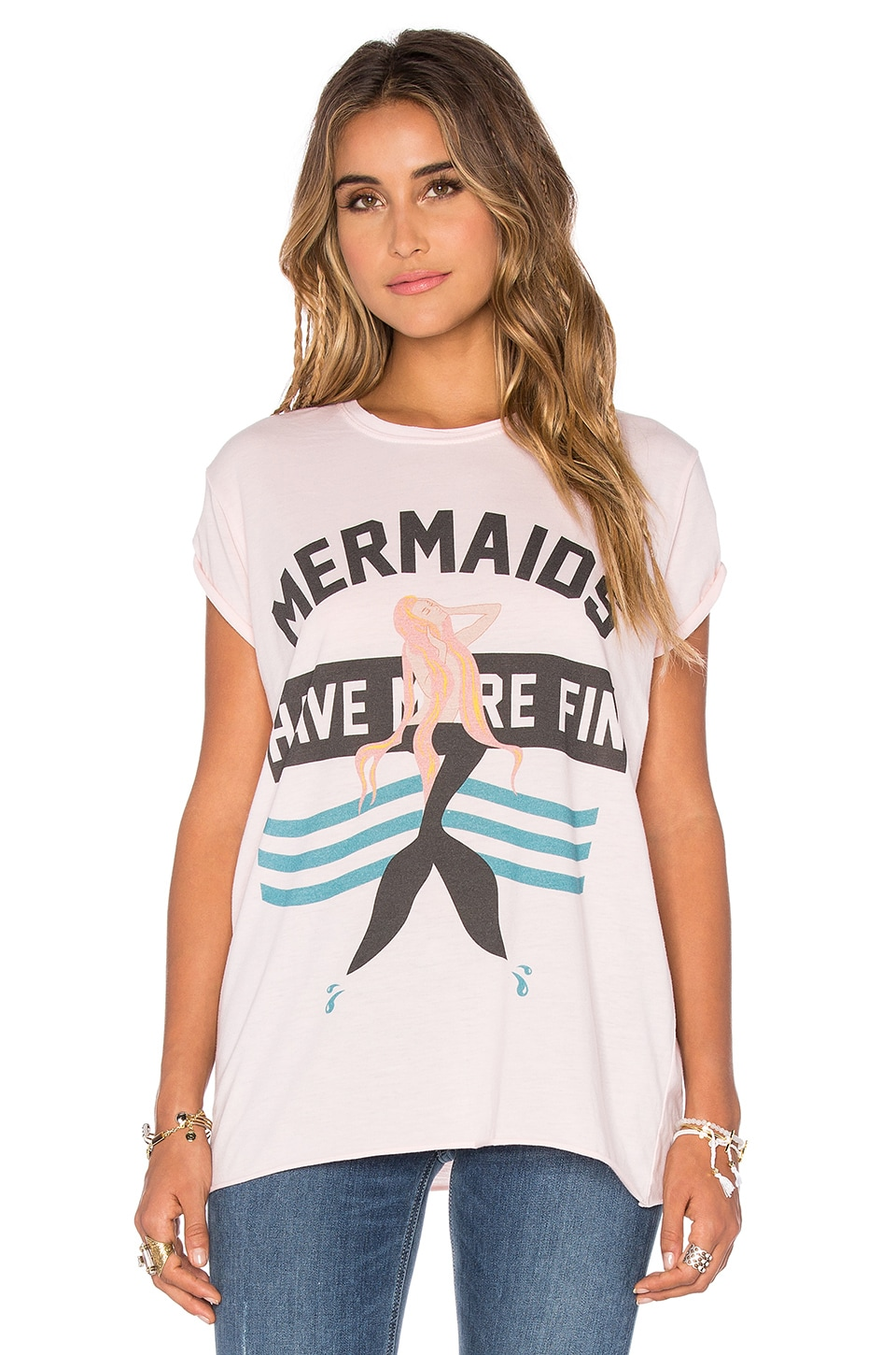 The Laundry Room Mermaids Have More Fin Rolling Tee in Shell
