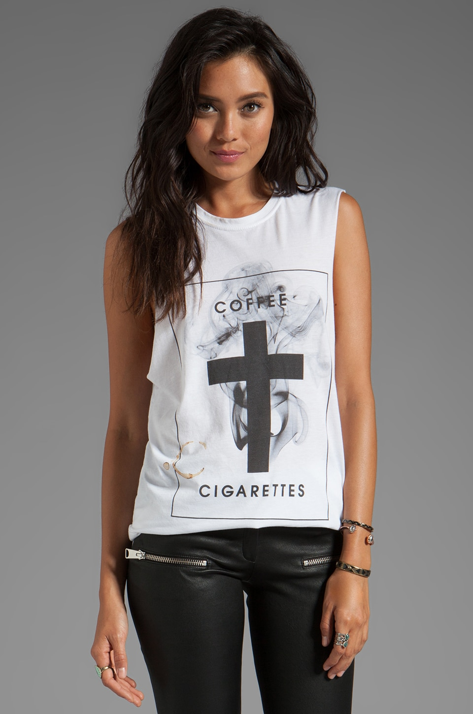 The Laundry Room Coffee + Cigarettes Muscle Tee in White