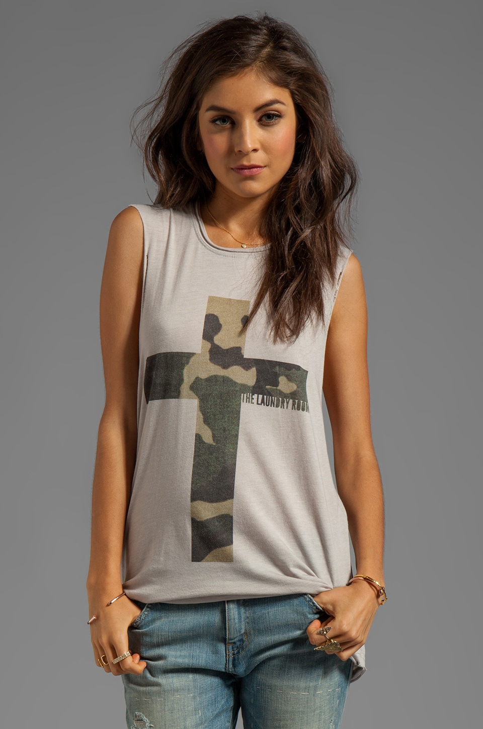 The Laundry Room Praise Camo Thrasher Muscle Tee in Silver
