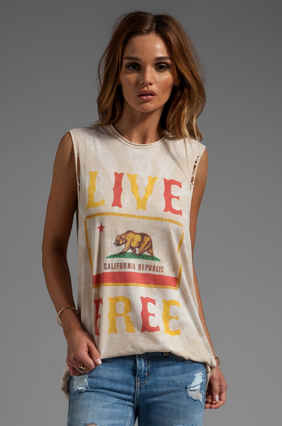 The Laundry Room Live Free CA Lightening Wash Muscle Tee in Nude