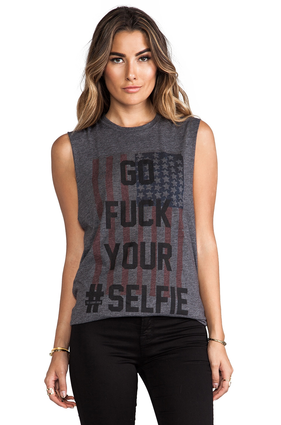 The Laundry Room Selfie Flag Muscle Tee in Charcoal
