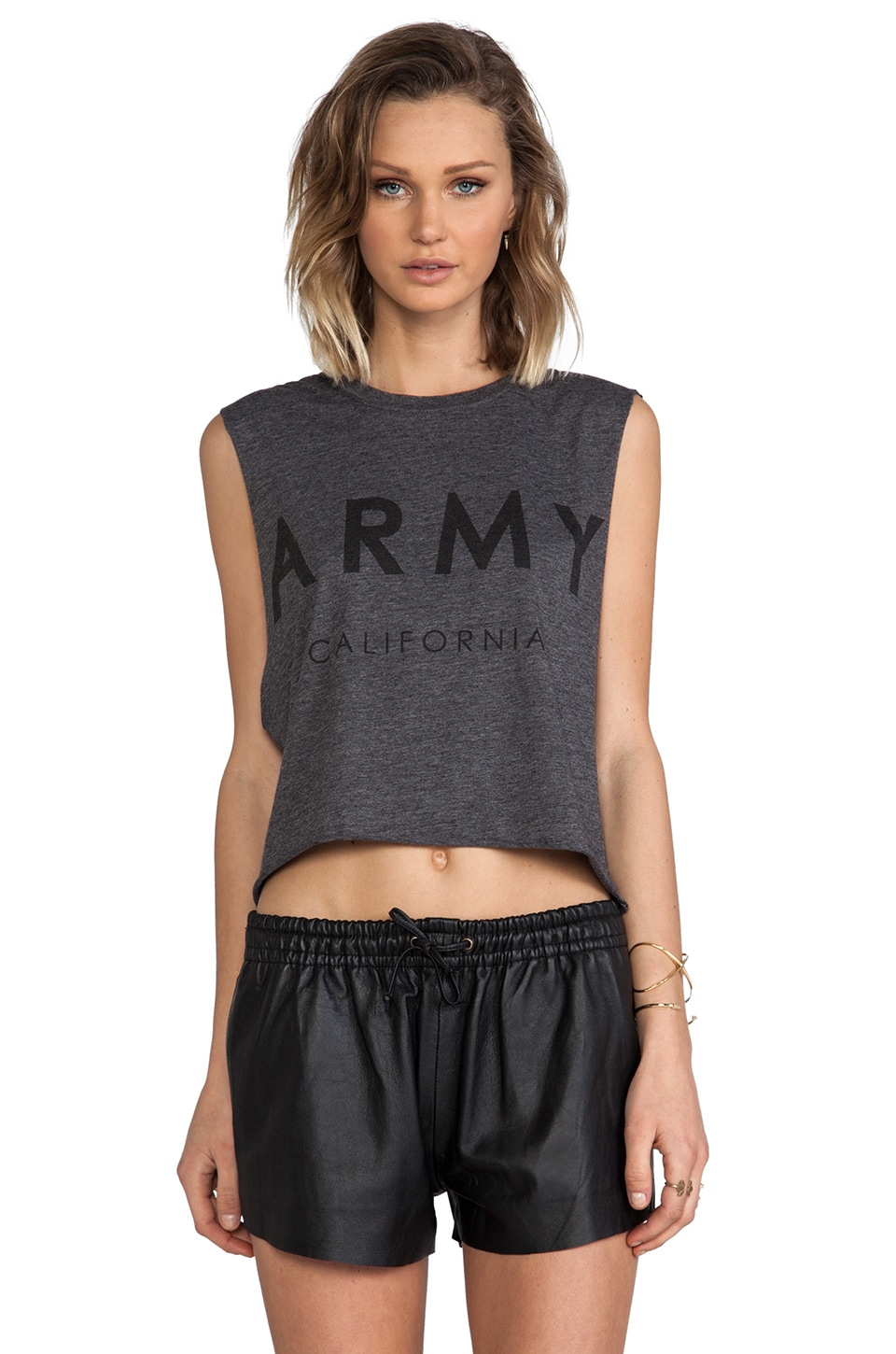 The Laundry Room Army California Crop Muscle Tee in Charcoal