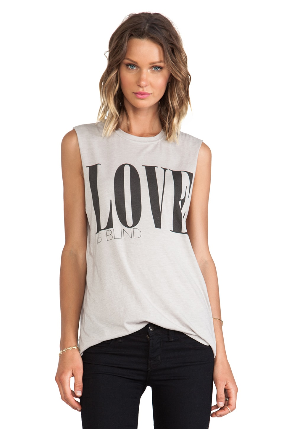 The Laundry Room Love is Blind Muscle Tee in Grey