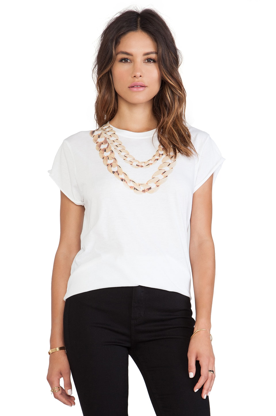 The Laundry Room Cuban Chains Rolling Tee in White