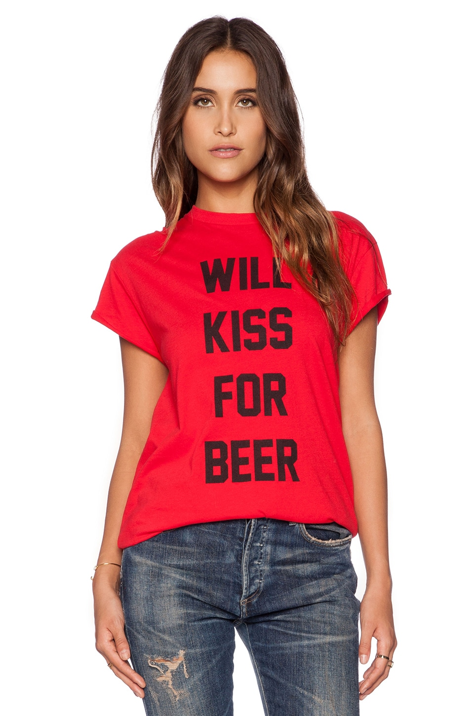 The Laundry Room Will Kiss for Beer Rolling Tee in Red Hot
