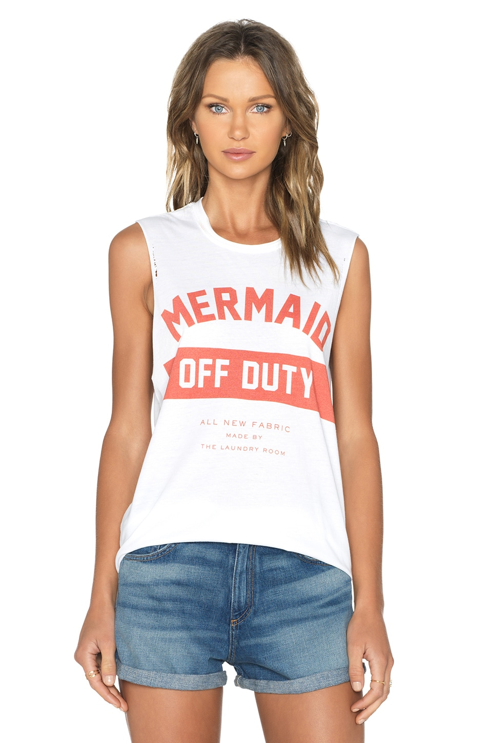 The Laundry Room Mermaid Off Duty Uniform Muscle Tank in White