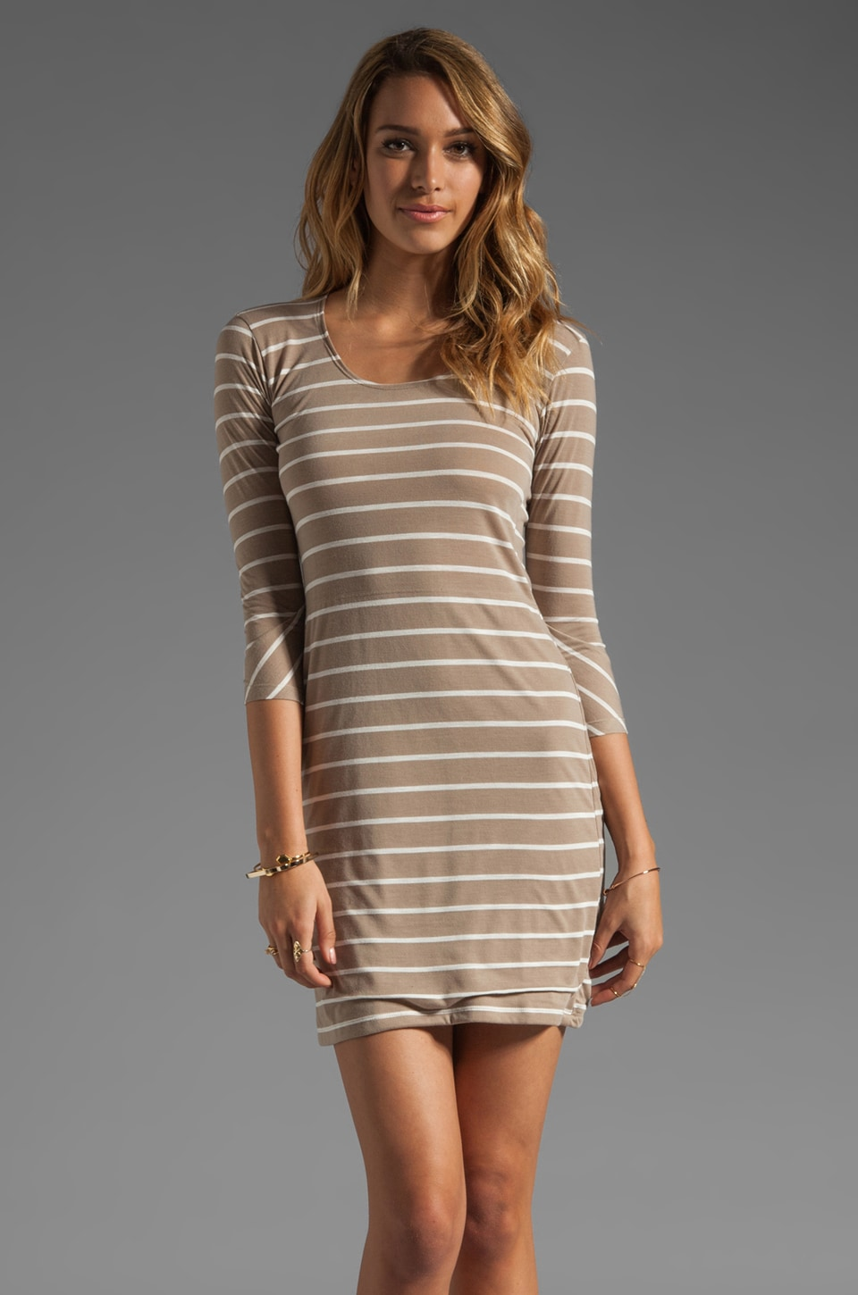 Tylie Stripe Scoop Neck Dress in Sand/White