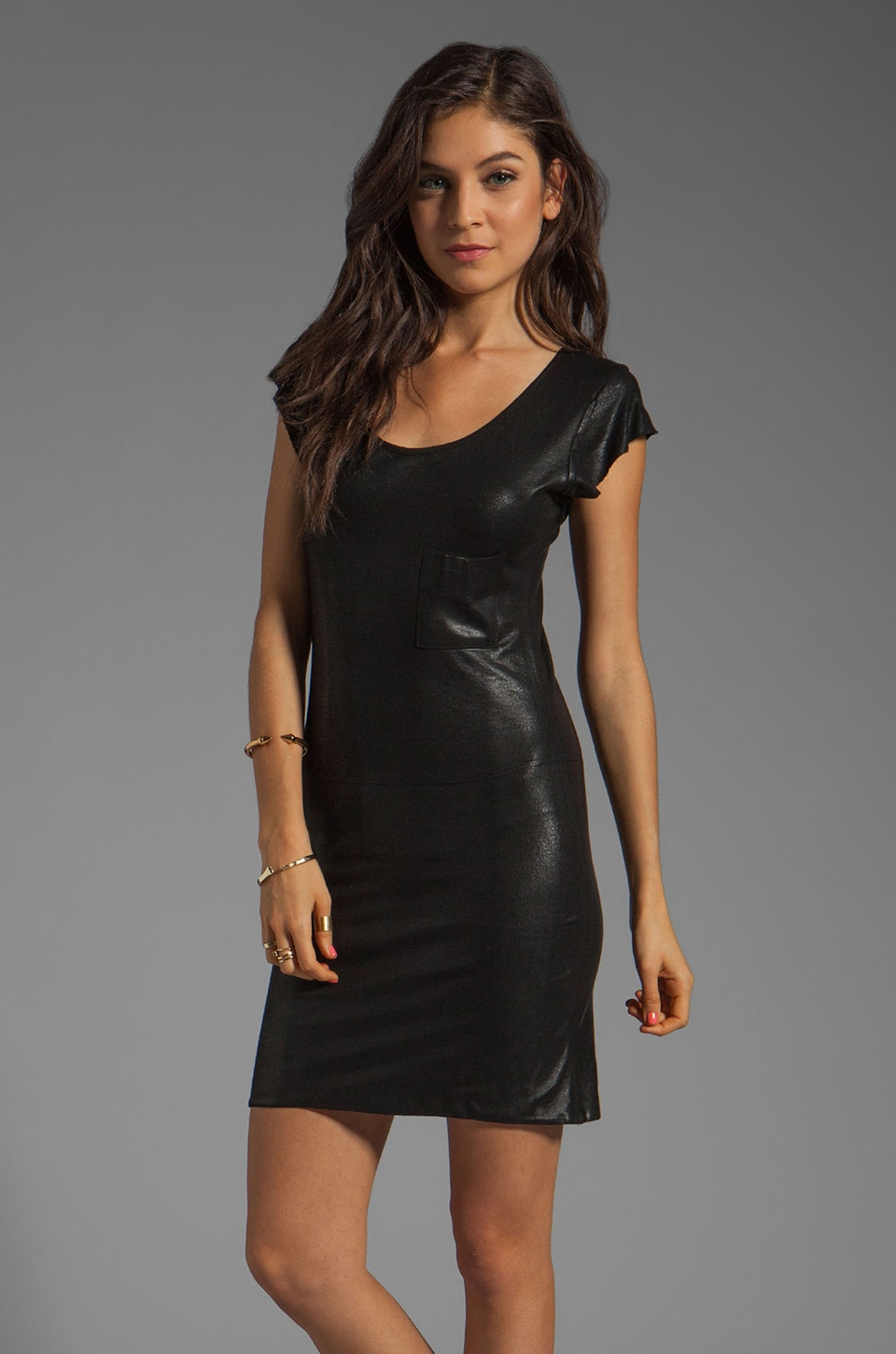 Tylie Coated Leather Cap Sleeve Tee Dress in Black