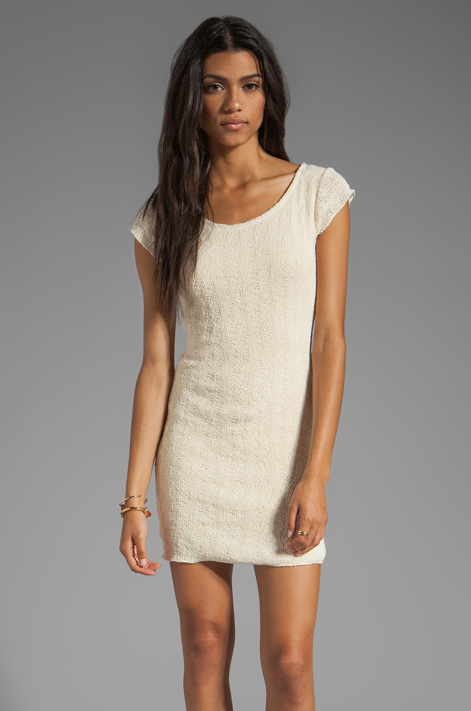 Tylie Tear Away Cap Sleeve Tee Dress in Cream