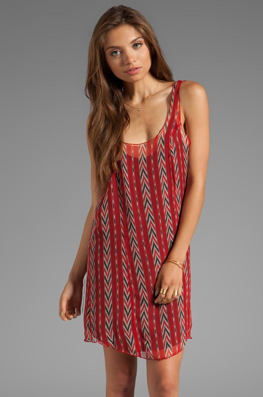 Tylie Chevron Slip Dress in Red