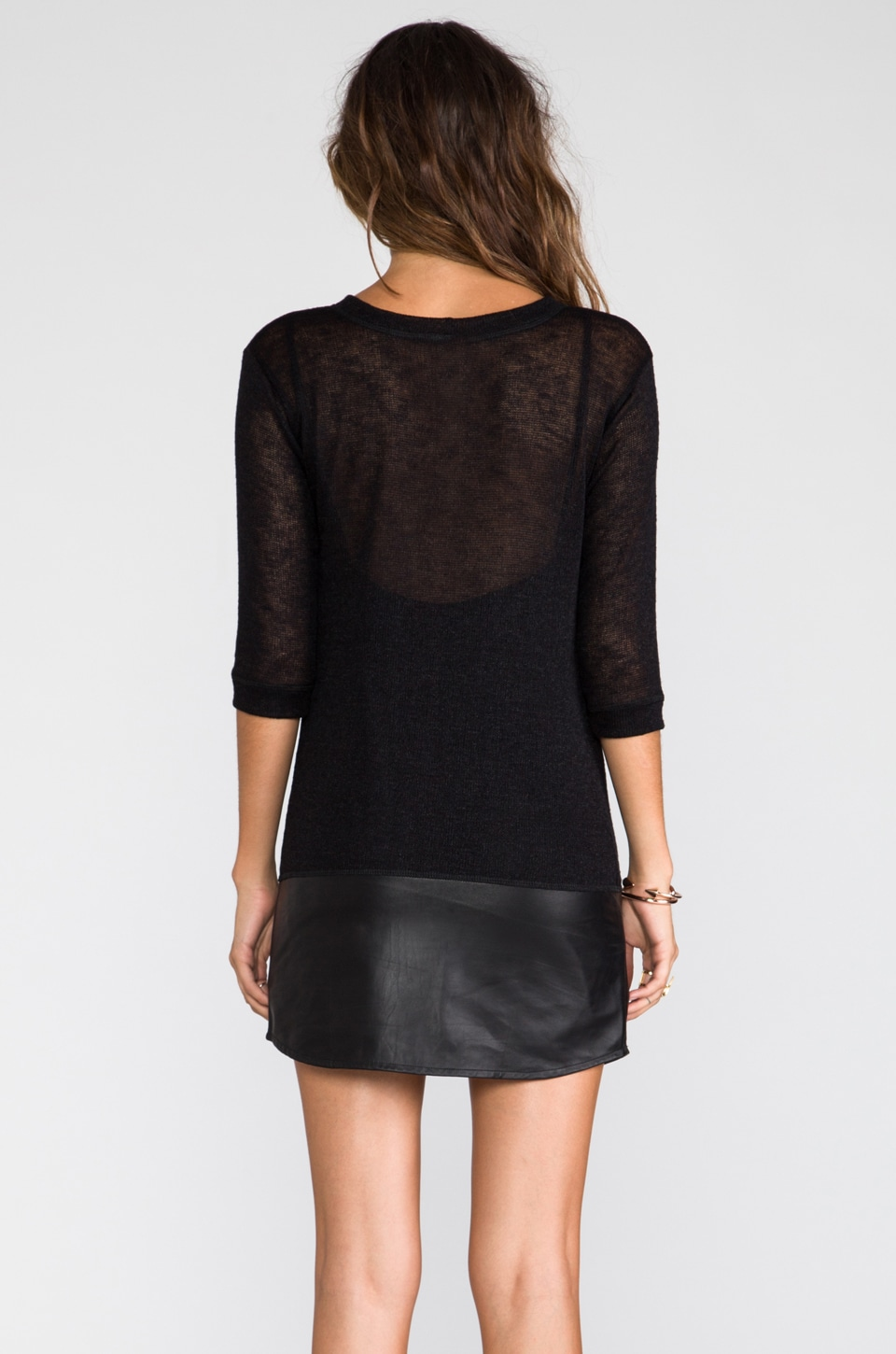 Tylie Leather Hem Knit Dress in Black