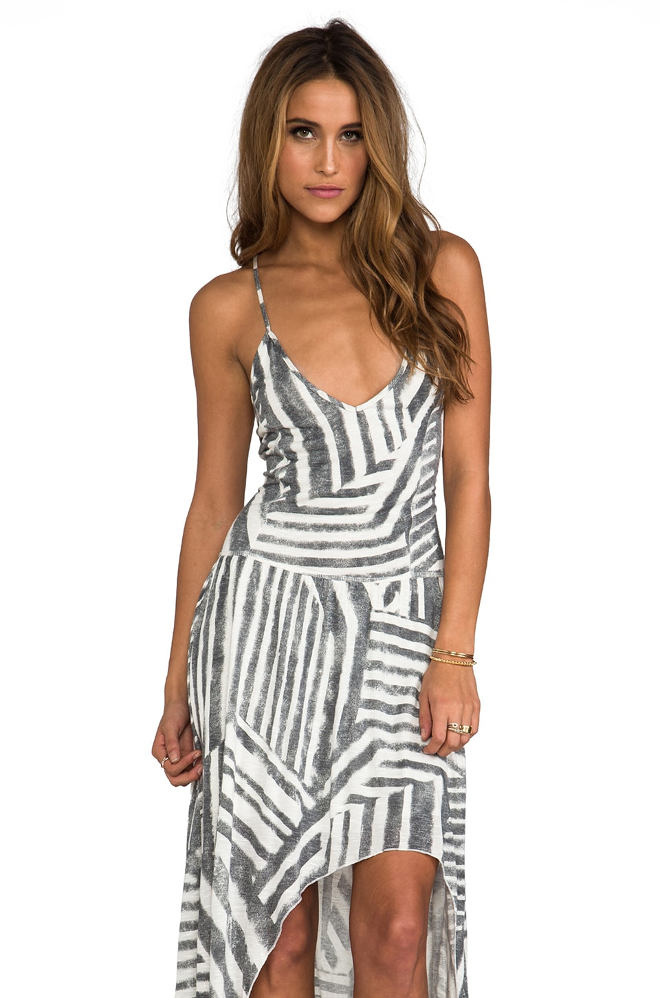 Tylie Tribal Stripe High Low Dress in Tribal Stripe