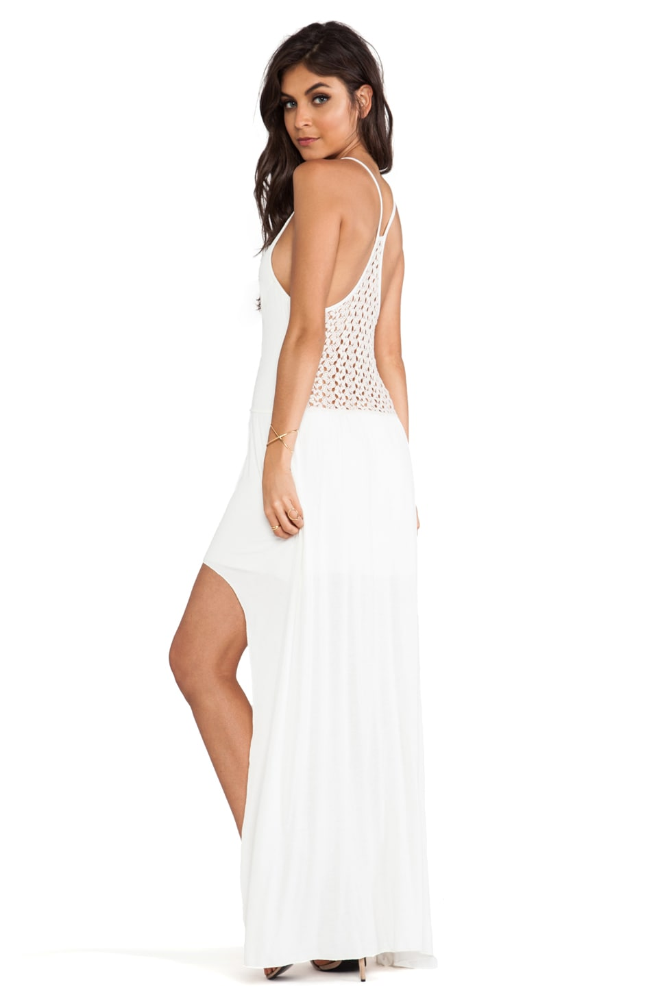 Tylie Crochet Back High Low Dress in Ivory
