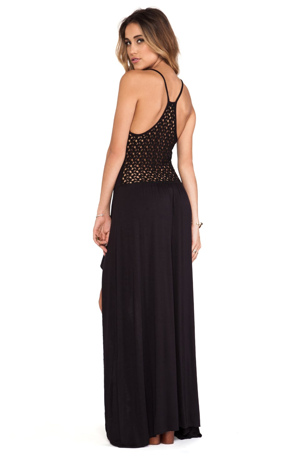 Tylie Crochet Back High Low Dress in Black