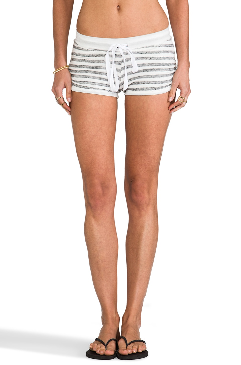 Tylie Stripe Drawstring Rouche Shorts in Heather & White Stripe