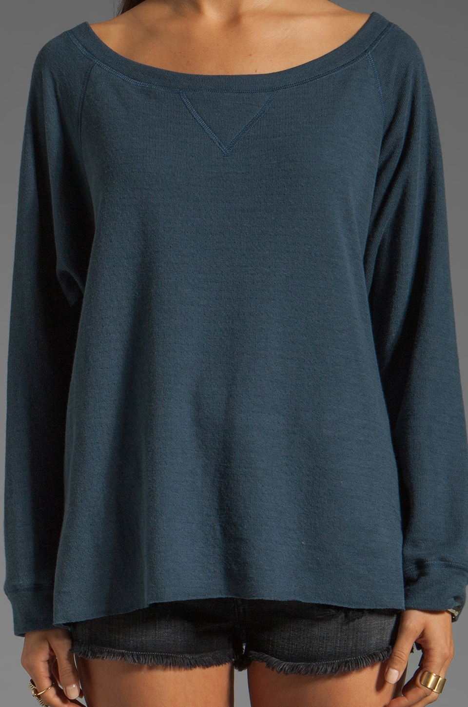 Tylie Double Face Off The Shoulder Raglan Sweater in Danish Blue