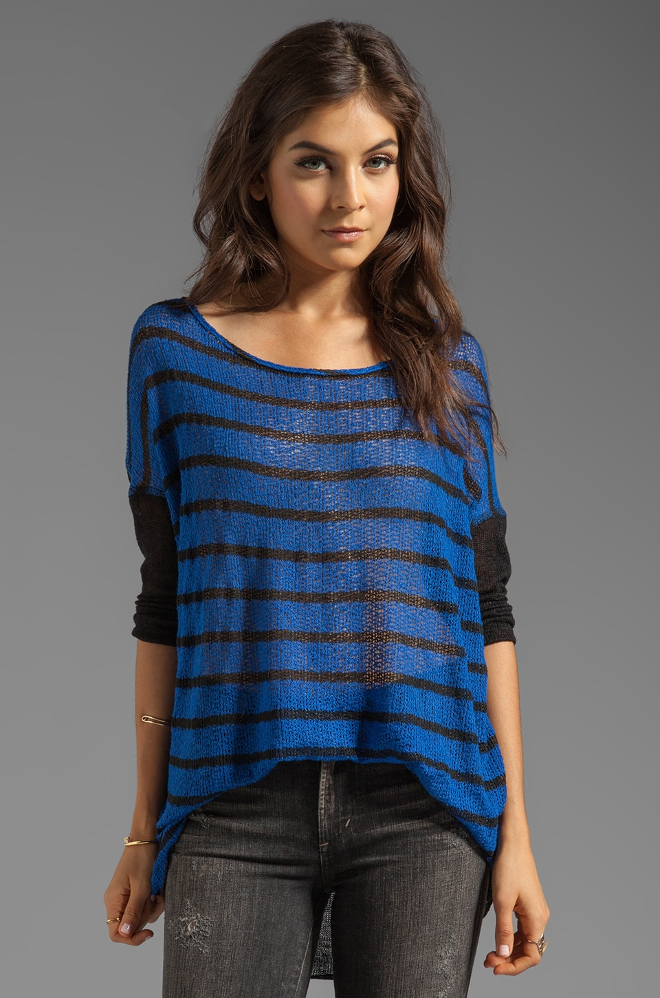 Tylie Stripe Sweater in Cobalt Blue/Black