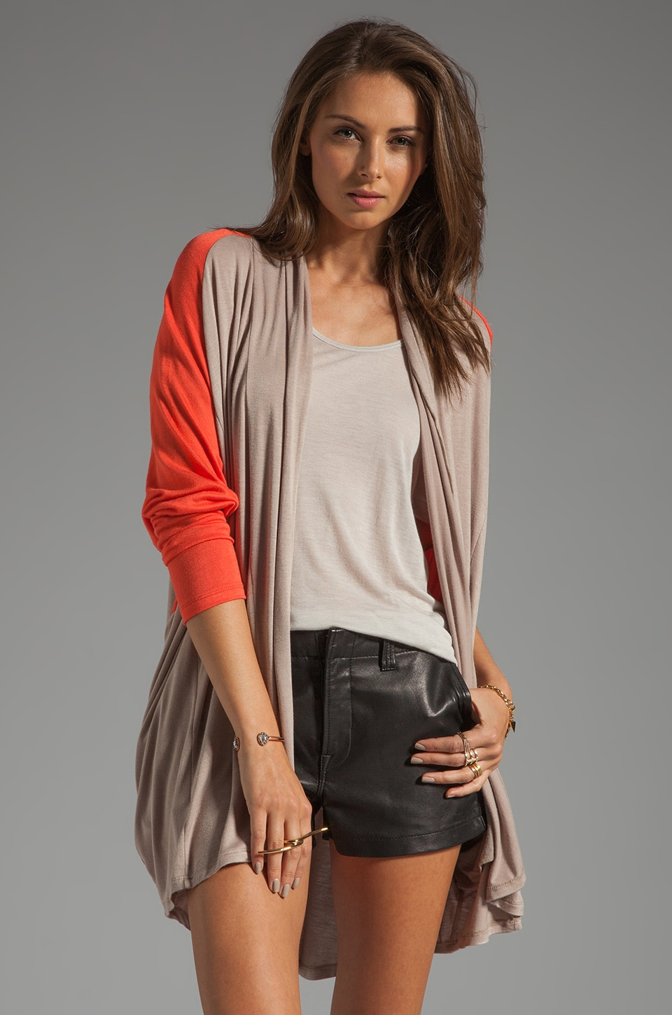 Tylie Color Blocked Cardi in Sand/Coral