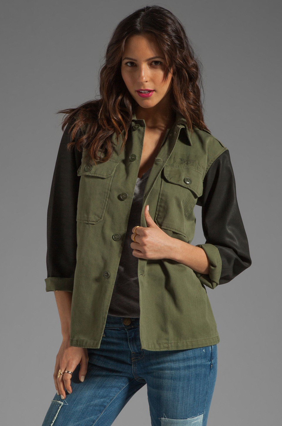 Tylie Vintage Redux Military Jacket with Spray Sleeves in Army Green/Black