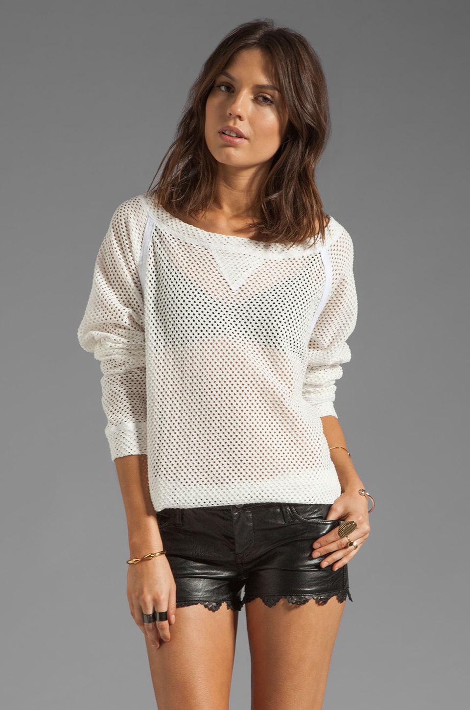 Tylie Cotton Crochet Off The Shoulder Raglan Tee in White