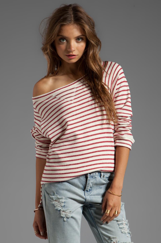 Tylie Stripe Sweatshort in Red/White
