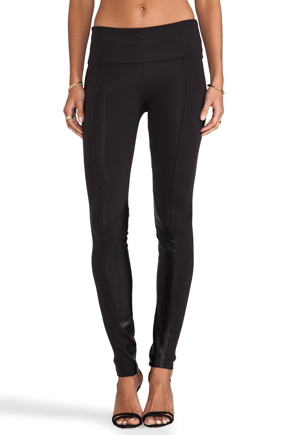 Tylie Leather Detail Pony Leggings in Black