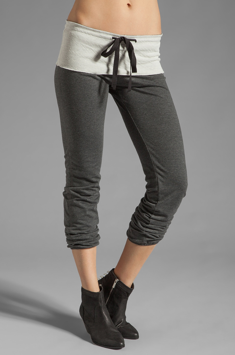 Tylie French Terry Elastic Bottom Pant in Charcoal