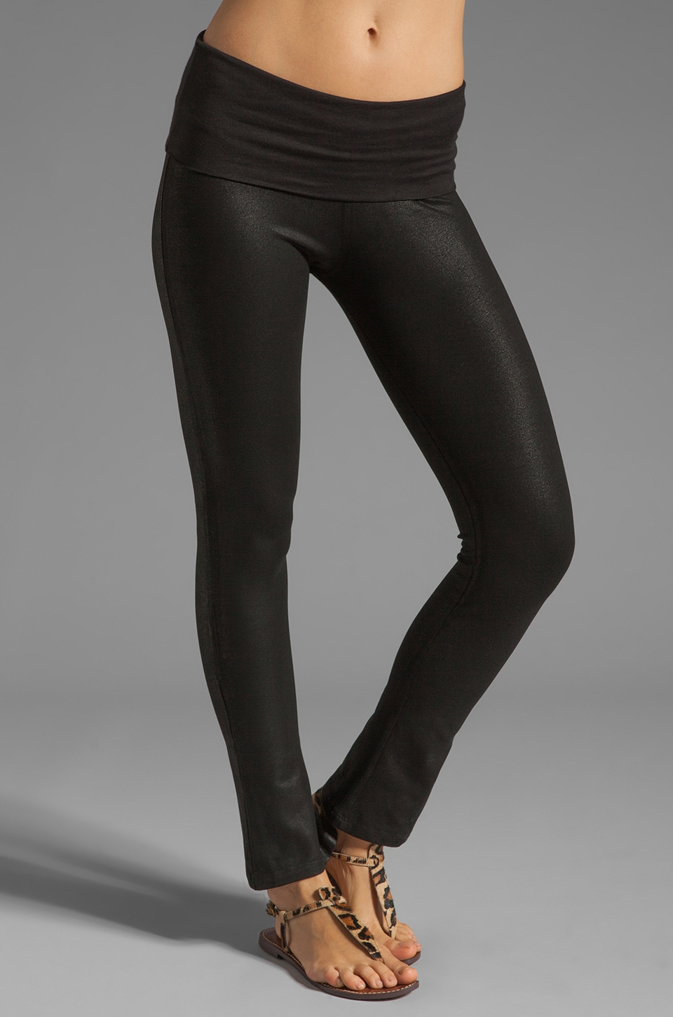 Tylie Coated Leather Stove Pipe Leggings in Black