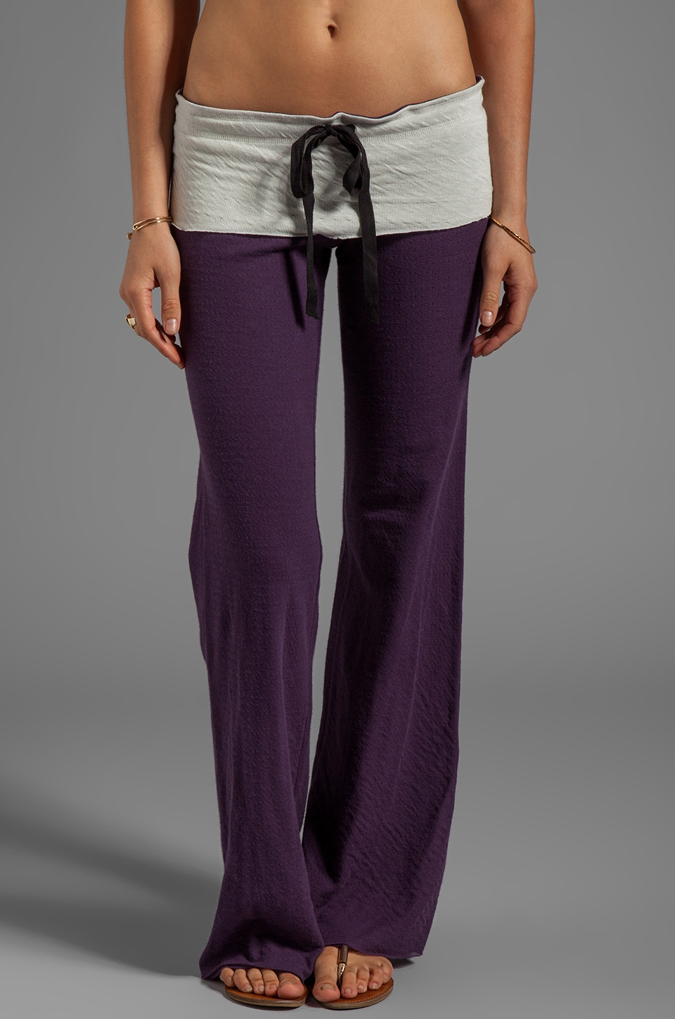 Tylie Double Face Wideleg Pant in Plum