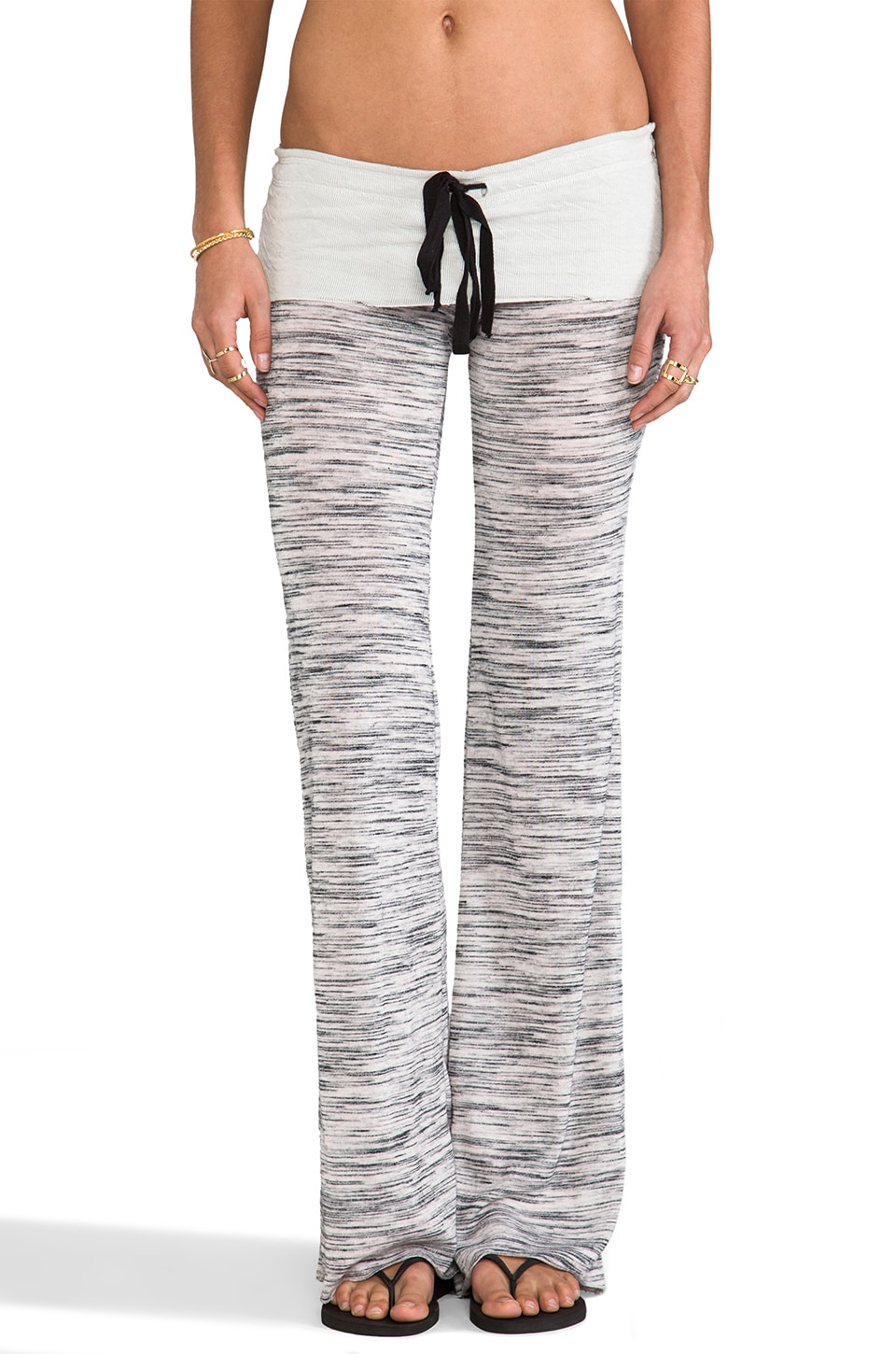 Tylie Wide Leg Space Dyed Knit Pants in Off White