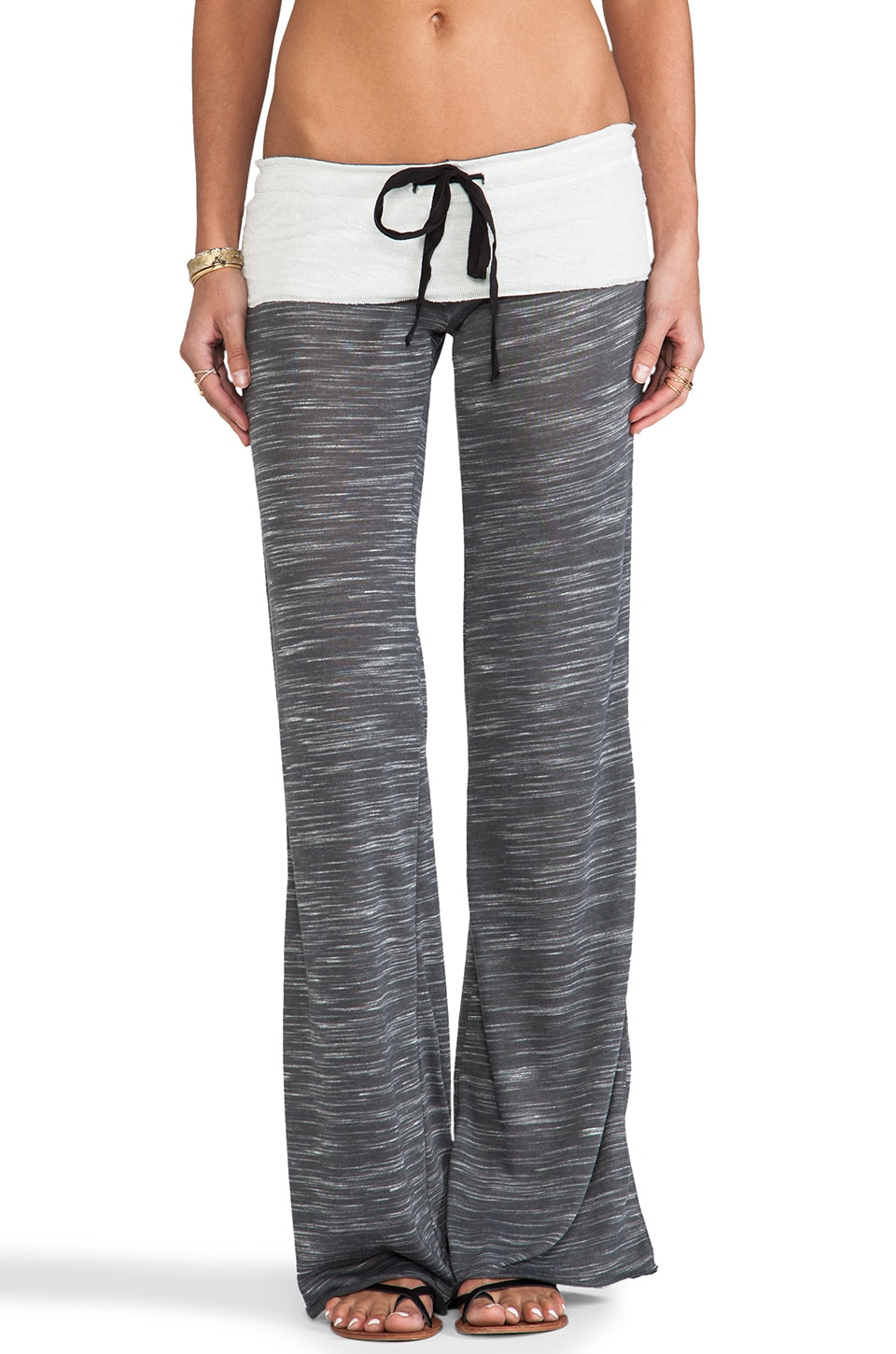 Tylie Wide Leg Space Dyed Knit Pants in Charcoal