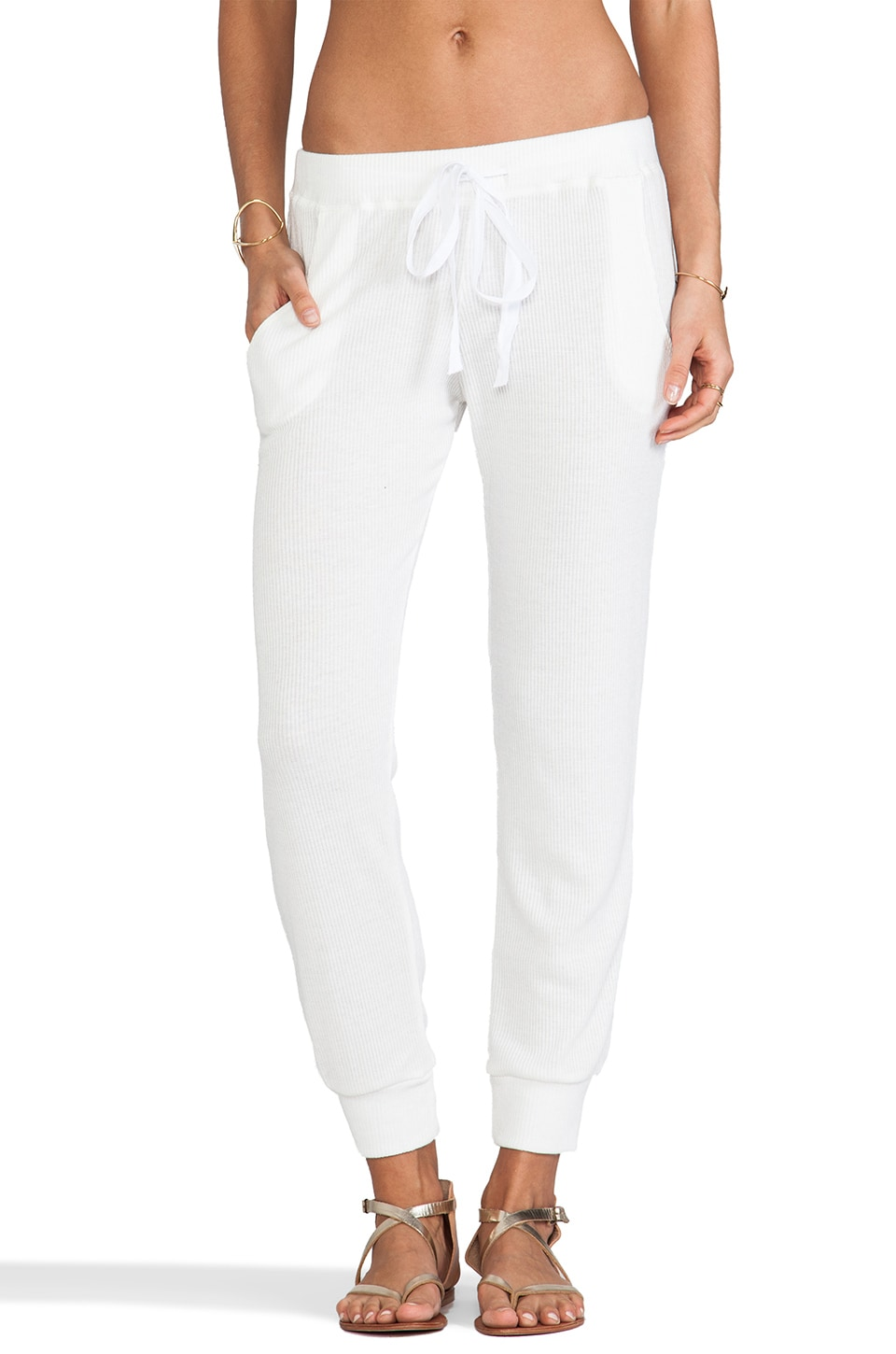 Tylie Ribbed Track Pant in Ivory