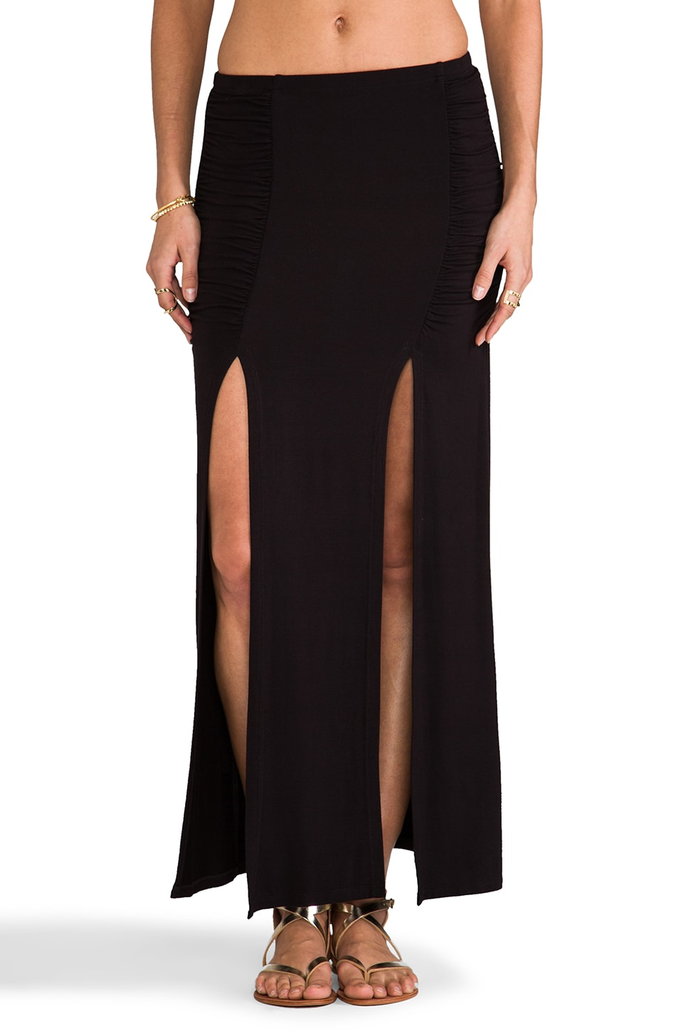 Tylie Front Slit Maxi Skirt in Black