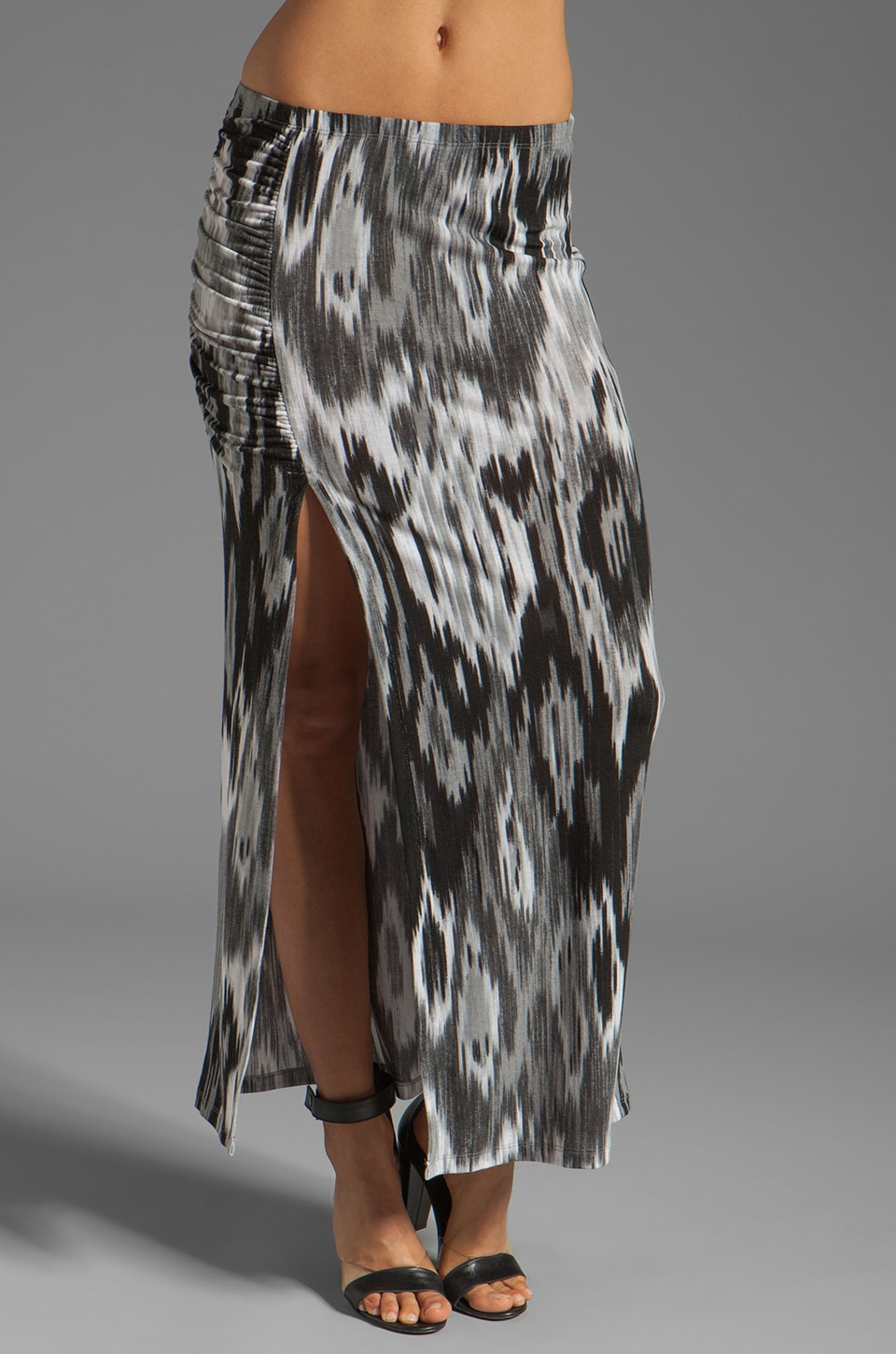 Tylie High Slit Maxi Skirt in Water Print Ikat