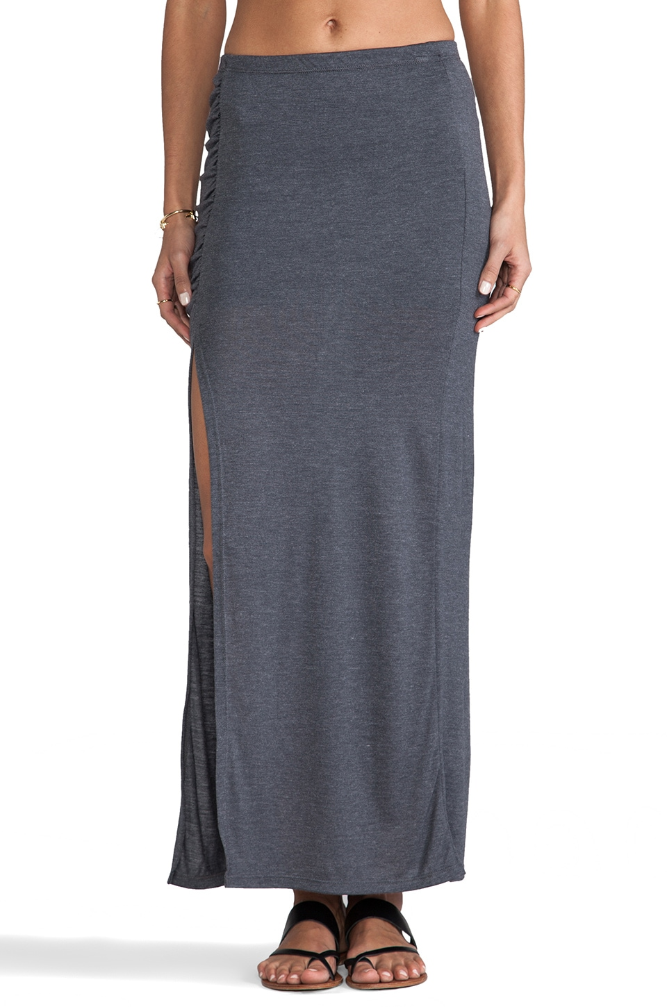 Tylie High Slit Maxi Skirt in Indigo