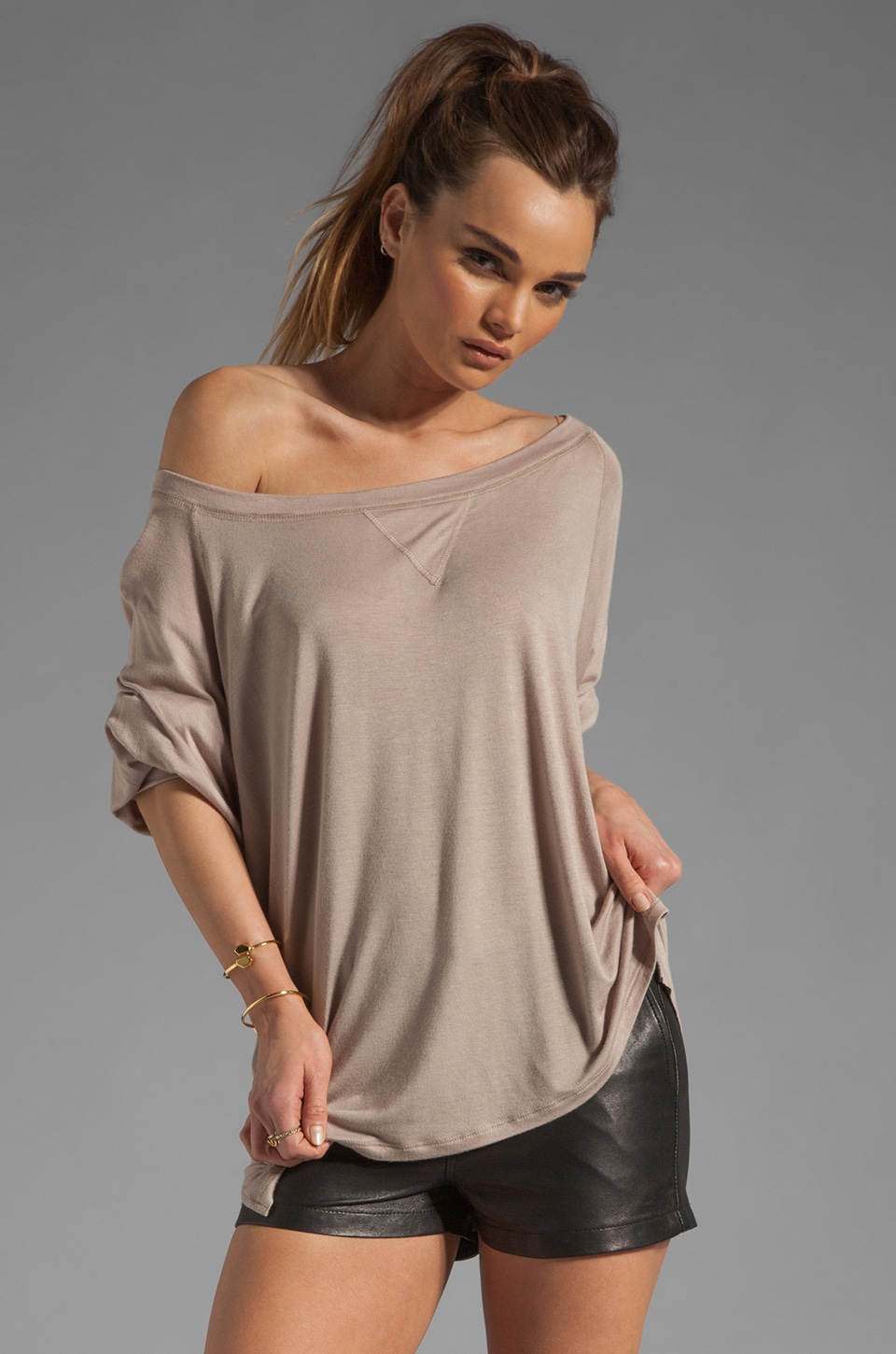 Tylie Off The Shoulder Tee Weight Jumper in Sand