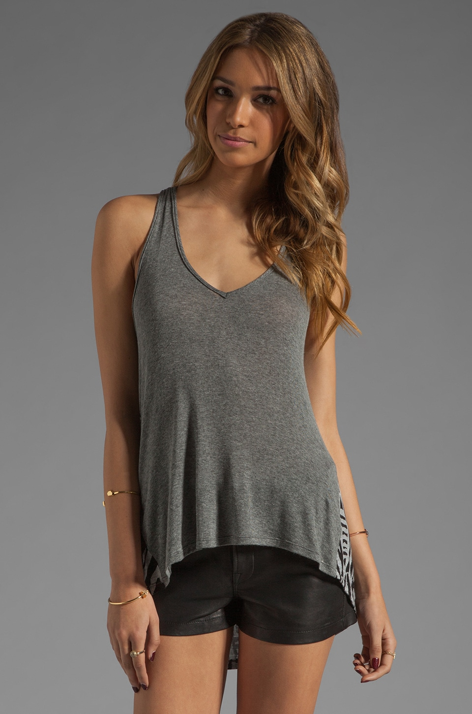 Tylie V Neck Long Sleeve in Apache/Heather