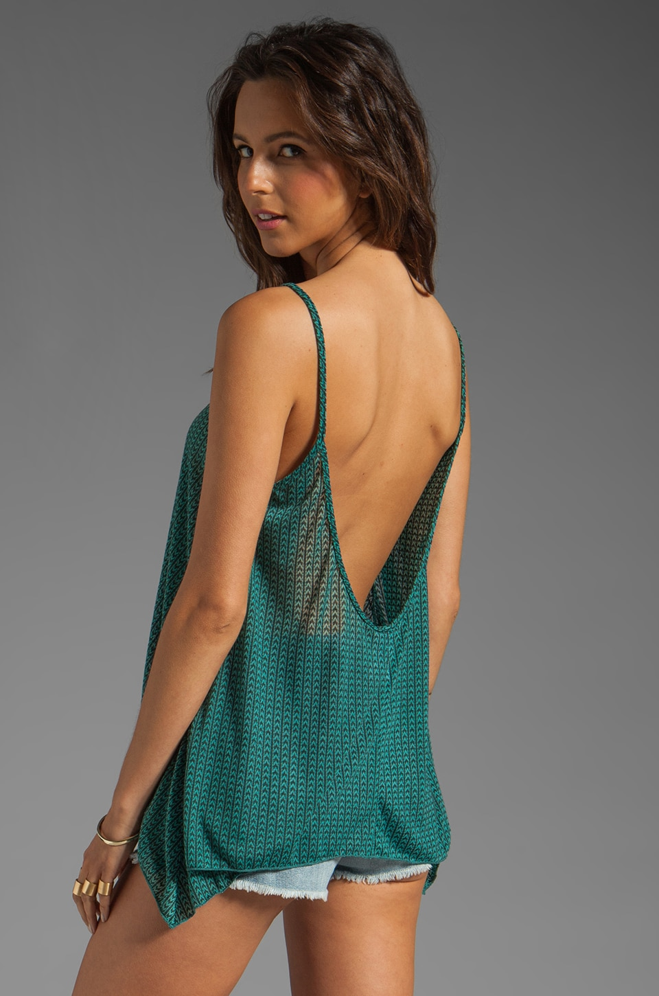 Tylie Tear Away Dye Lowback Swing Tank in Teal Chevron