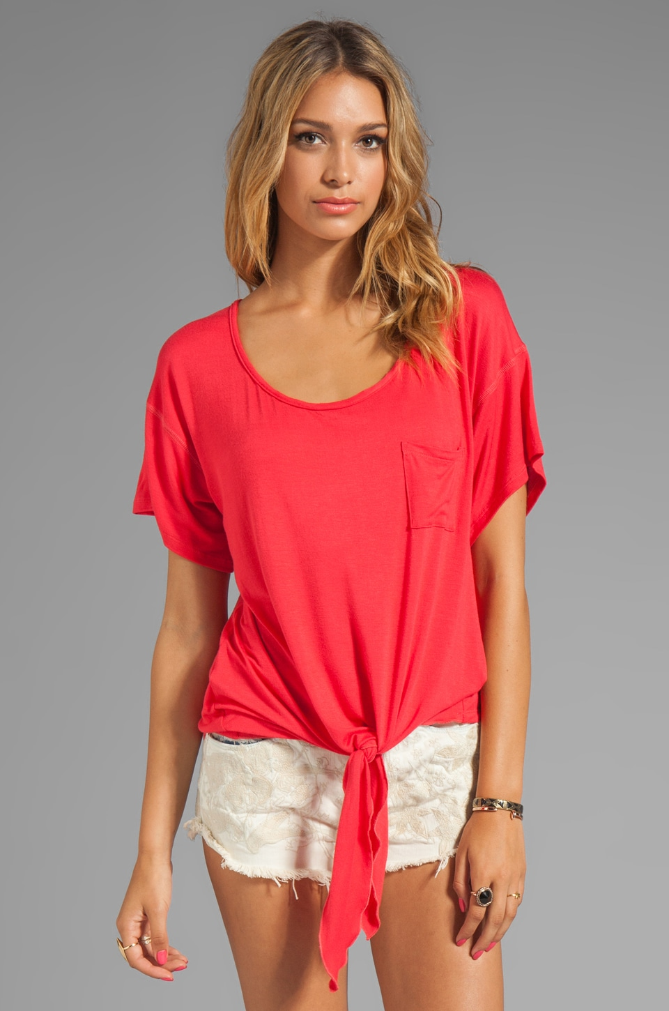 Tylie Boyfriend Tee in Coral Red
