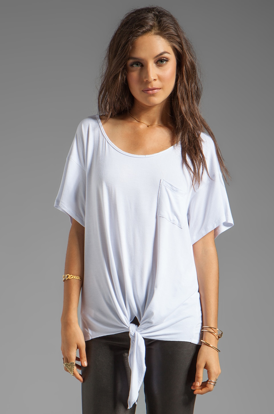 Tylie Tied Front BF Tee in White