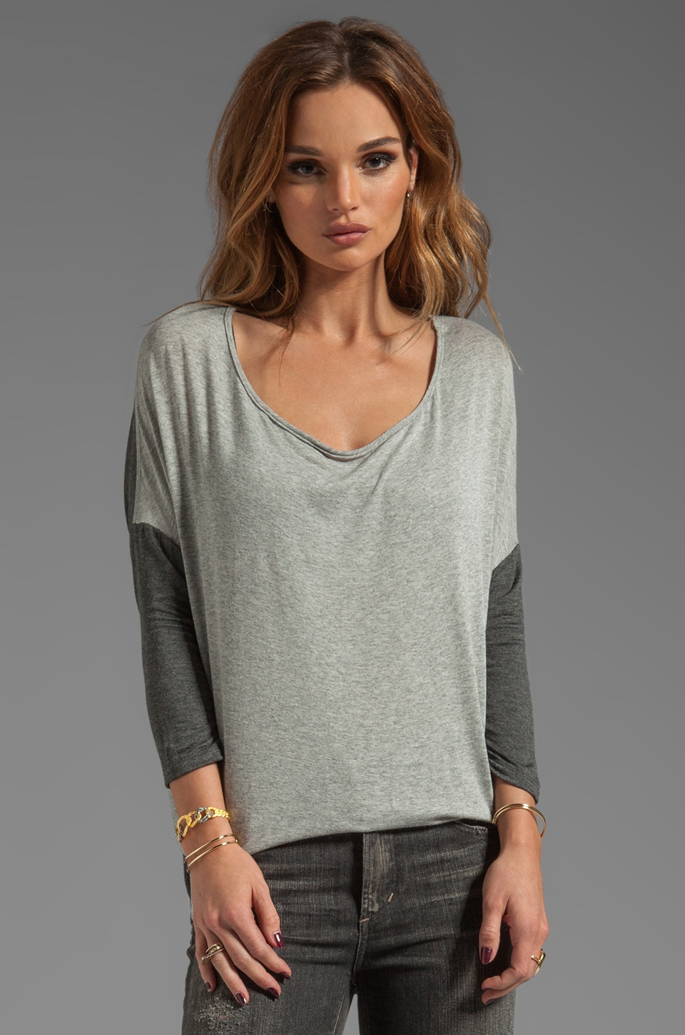Tylie Color Block Fitted Tunic in Heather/Charcoal