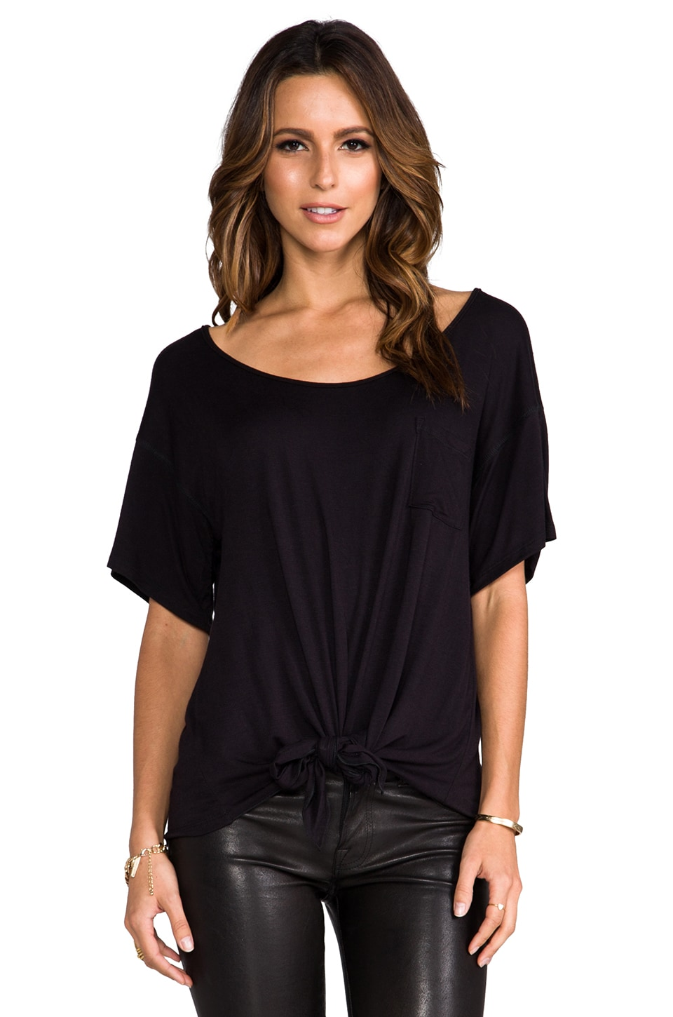 Tylie Tied Front Boyfriend Tee in Black