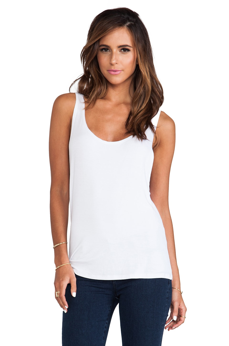 Tylie Jersey Low Side Tank in White